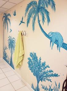 Tropical Sloth Bathroom Mural