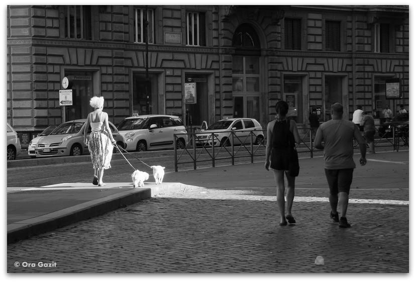 אשה עם כלבים- רומא עם ילדים, איטליה