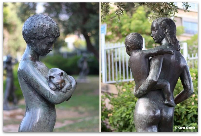 פסל אשה עם תינוק - גן הפסלים בחיפה - אורסולה מלבין - טיול בחיפה