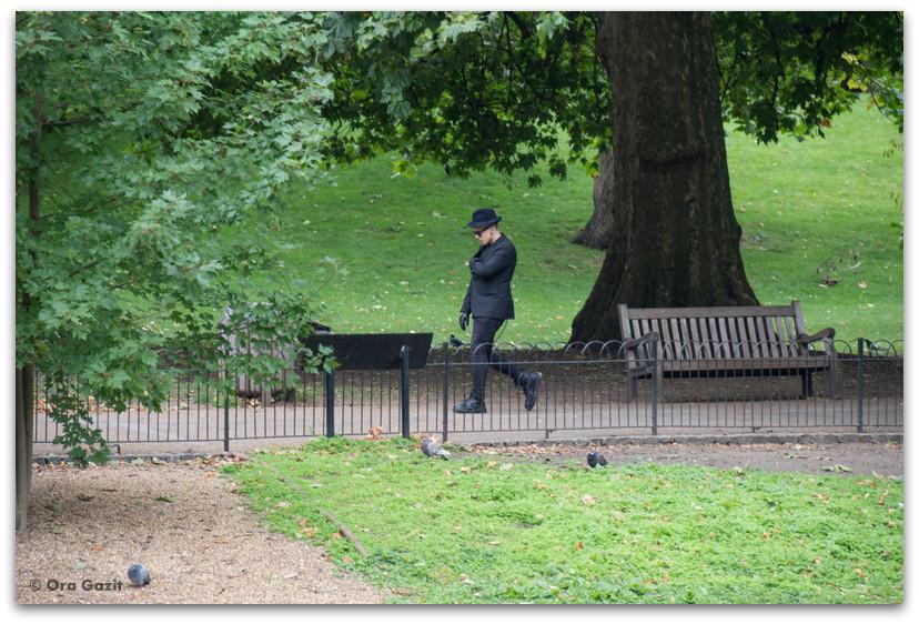 איש הולך בפארק - לונדון - יומן מסע