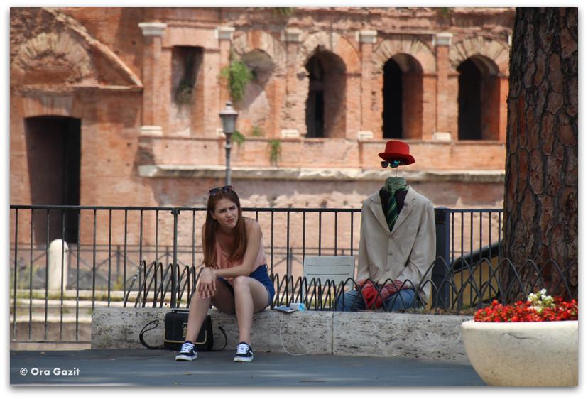 אמן רחוב - רומא עם ילדים, איטליה