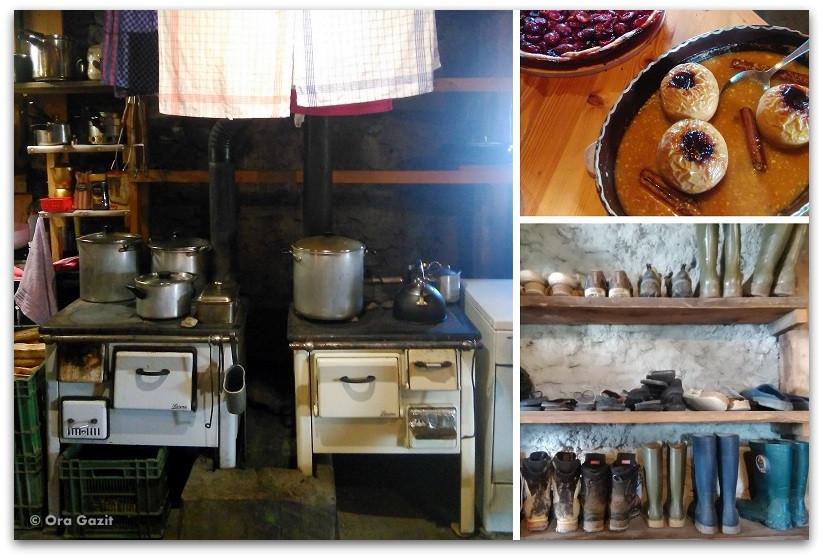מטבח בבקתה - טרק - סובב מון בלאן - יומן מסע