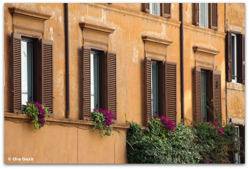 חלונות ופרחים - רומא עם ילדים, איטליה