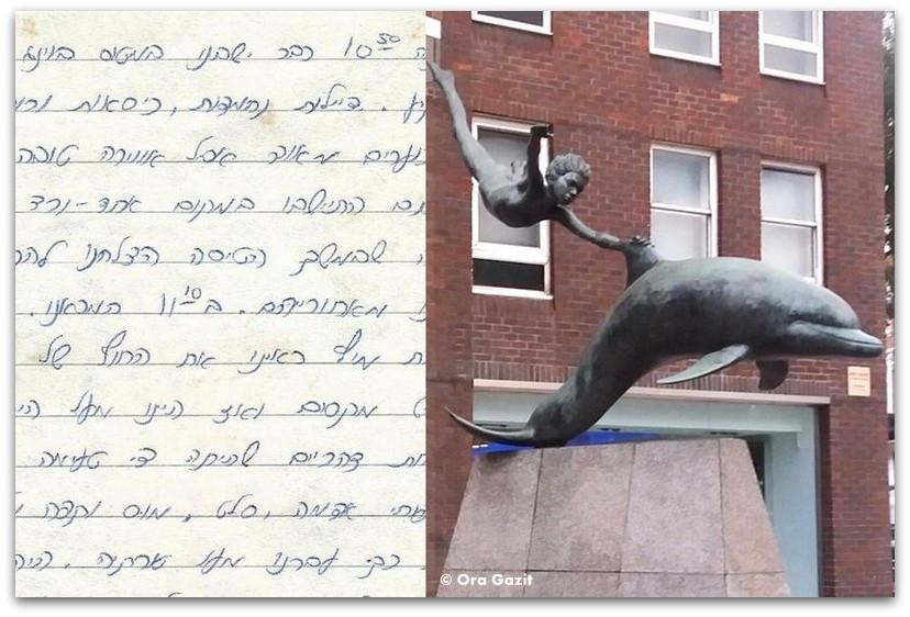 פסל של ילד עם דולפין - לונדון - יומן מסע