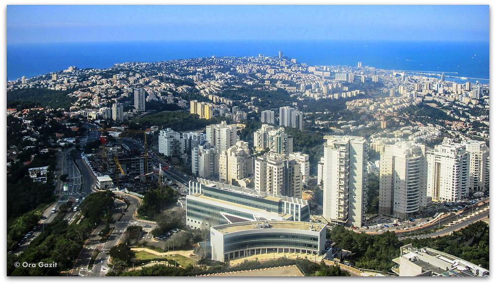 מגדל אשכול אוניברסיטת חיפה - תצפית מהאוניברסיטה - דרך נוף חיפה
