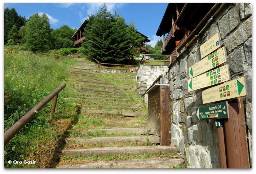 נקודת ההתחלה. מדרגות.  טרק - סובב מון בלאן