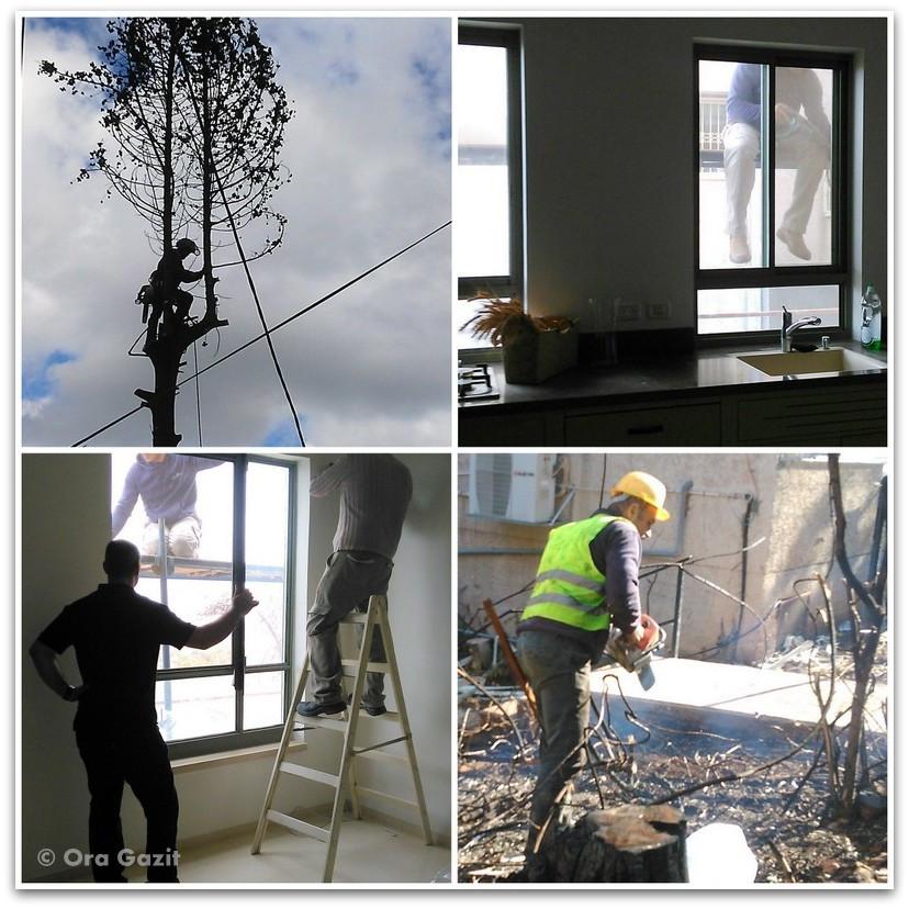 בעלי מלאכה עובדים - שריפה בחיפה - היער השחור