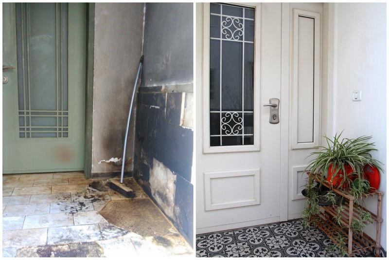 הכניסה לבית לפני ואחרי - שריפה בחיפה