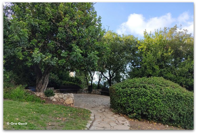 פינת ישיבה בגן הפסלים בחיפה - אורסולה מלבין - טיול בחיפה