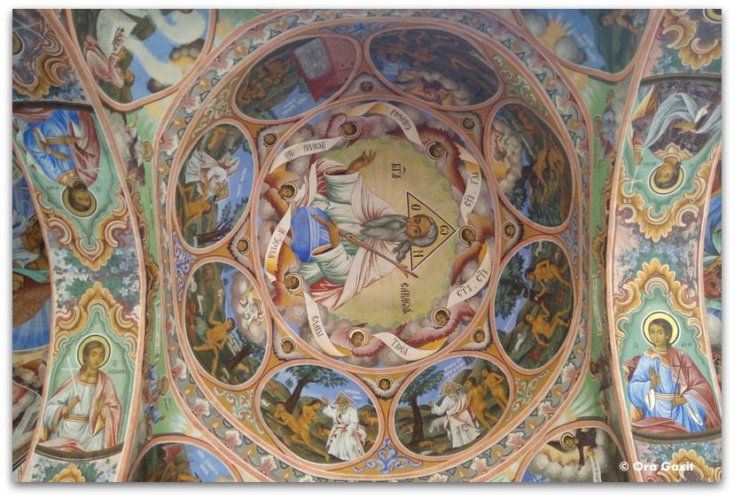 תקרה מצויירת - מנזר רילה - טרק הרי רילה בולגריה - יומן מסע