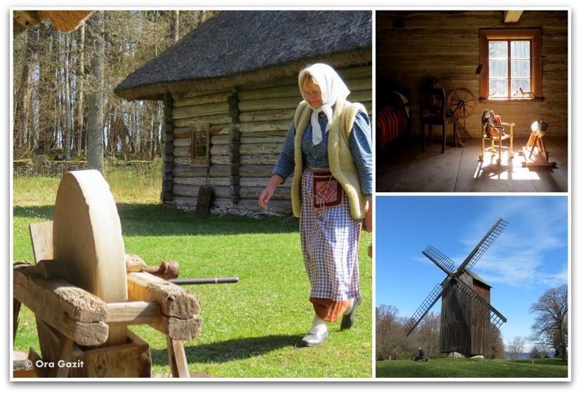 תחנת רוח ואשה במוזיאון הפתוח - טאלין, אסטוניה