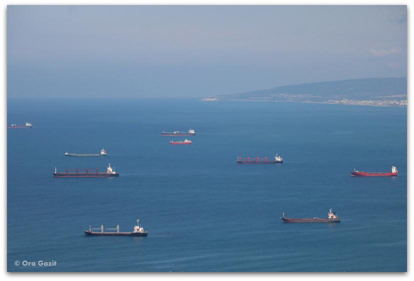 אניות בים - תצפית - חיפה