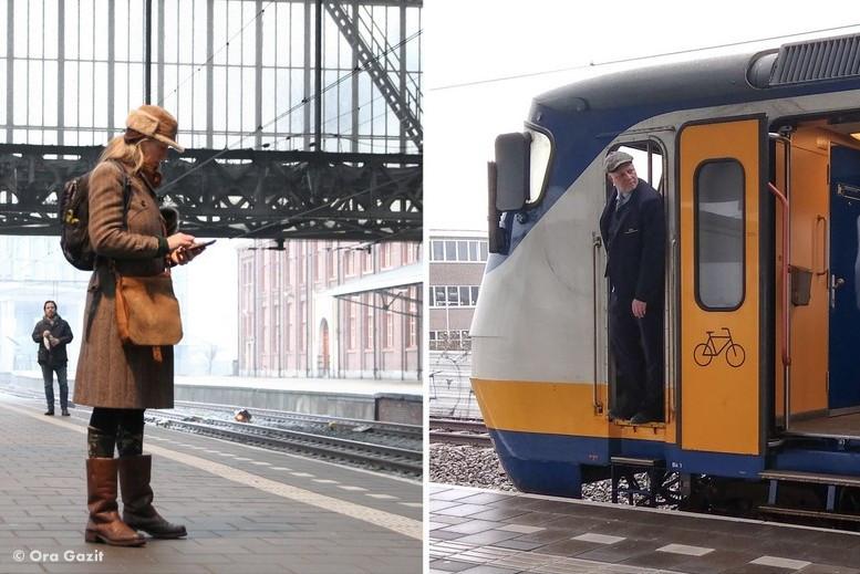אנשים בתחנת רכבת - טיול רכבות באירופה - טיול בהולנד