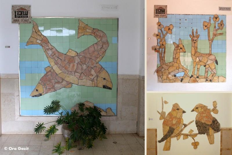 זוגות של חיות - פסיפס - אמנות קיר בחיפה - אטרקציות בחיפה