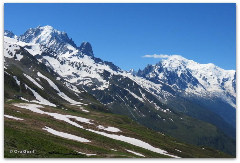 פסגות הרים מושלגות - טרק - סובב מון בלאן - יומן מסע