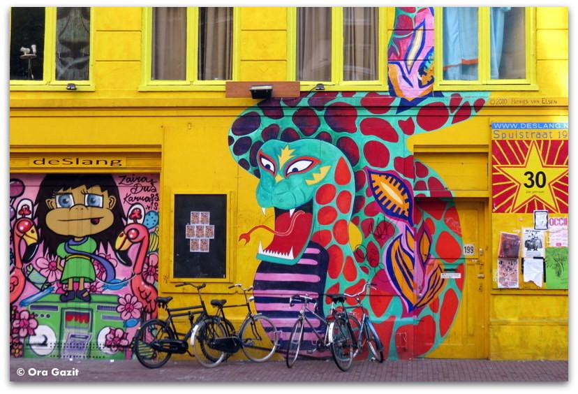 ציור קיר של נחש, גרפיטי, אמסטרדם