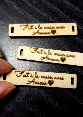 5 Étiquettes à coudre en bois «Fait à la main avec amour»