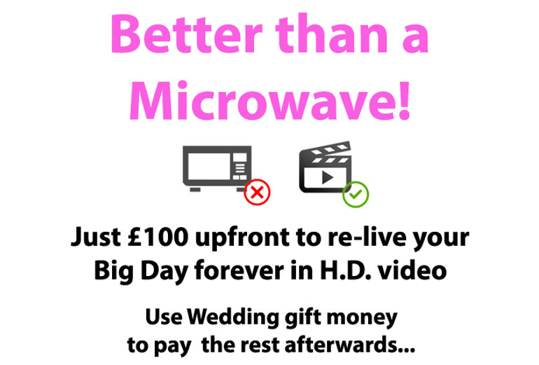 Better than a Microwave! - Just £100 up front to re-live your Big Day forever in H.D. video