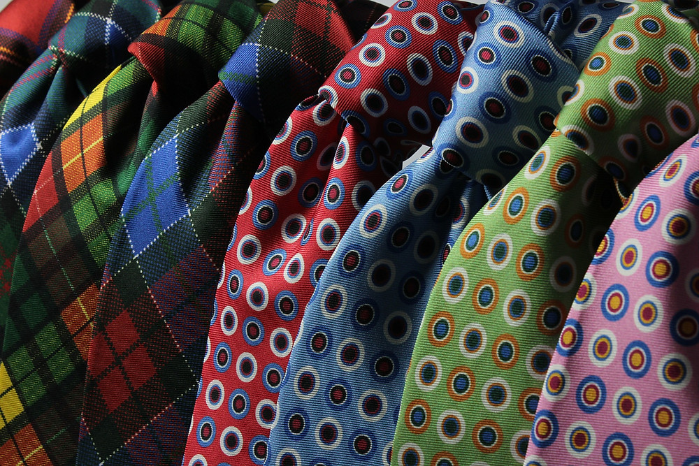 colorful patterned neckties