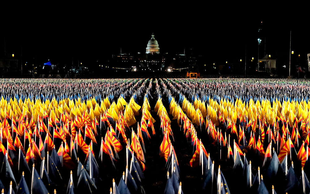 Field of flags on National Mall at night with U.S. Capitol in background