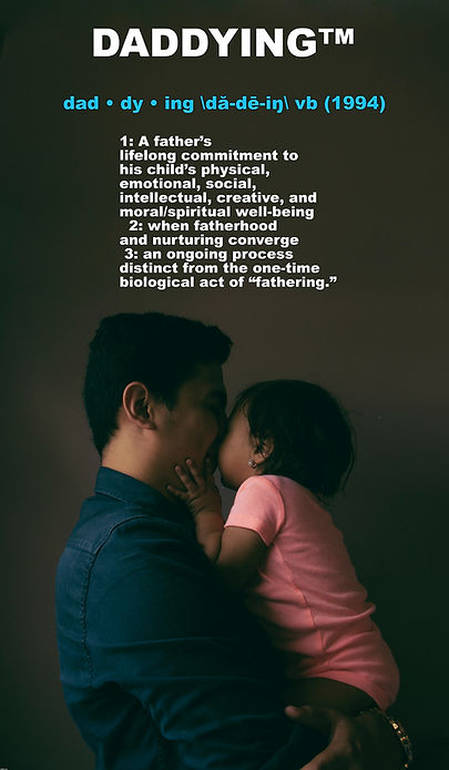 Definition of daddying with photo of dad holding baby