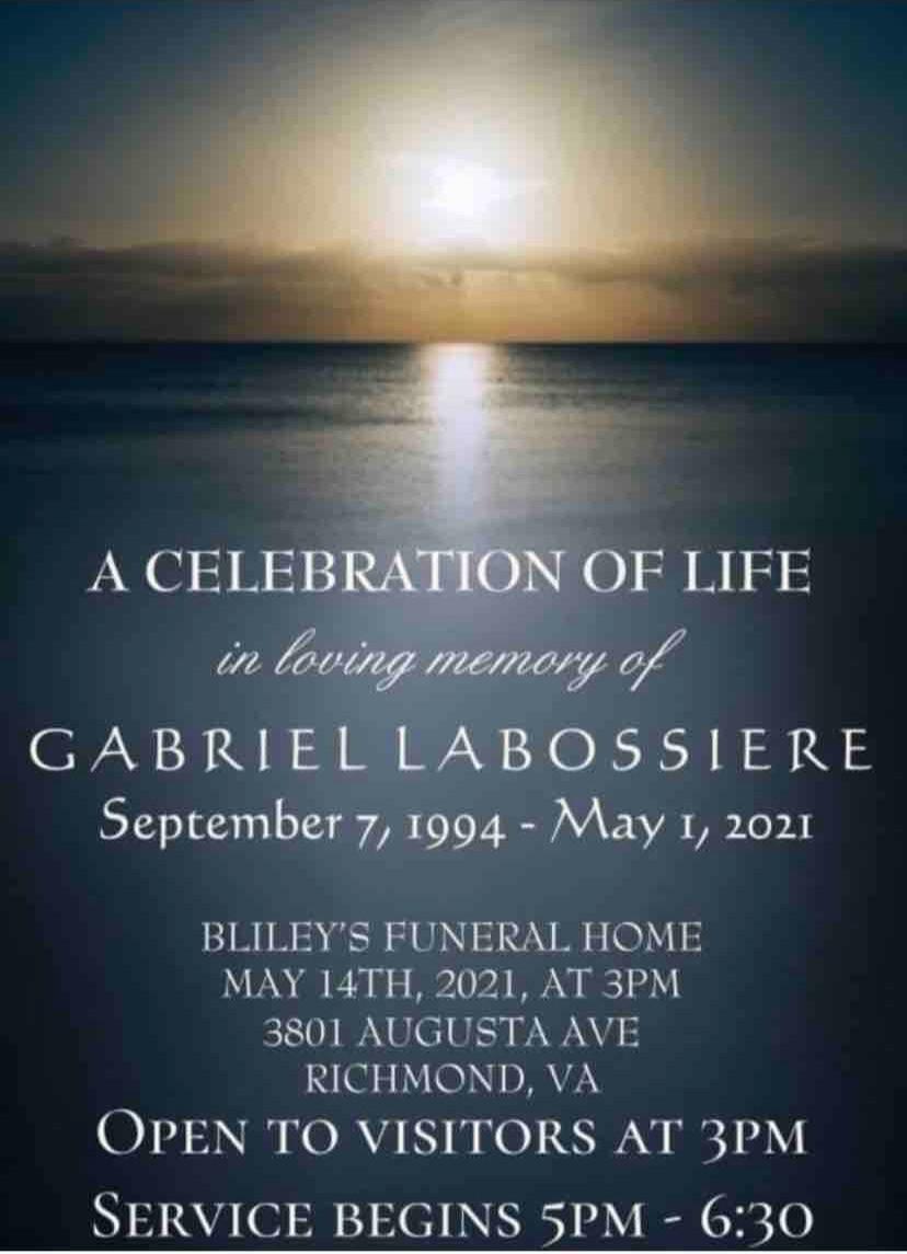 Gabriel LaBossiere funeral service announcement