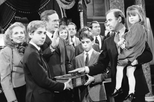 Joe Biden sworn in by George H.W. Bush with daughter Ashley and sons Hunter and Beau in 1985