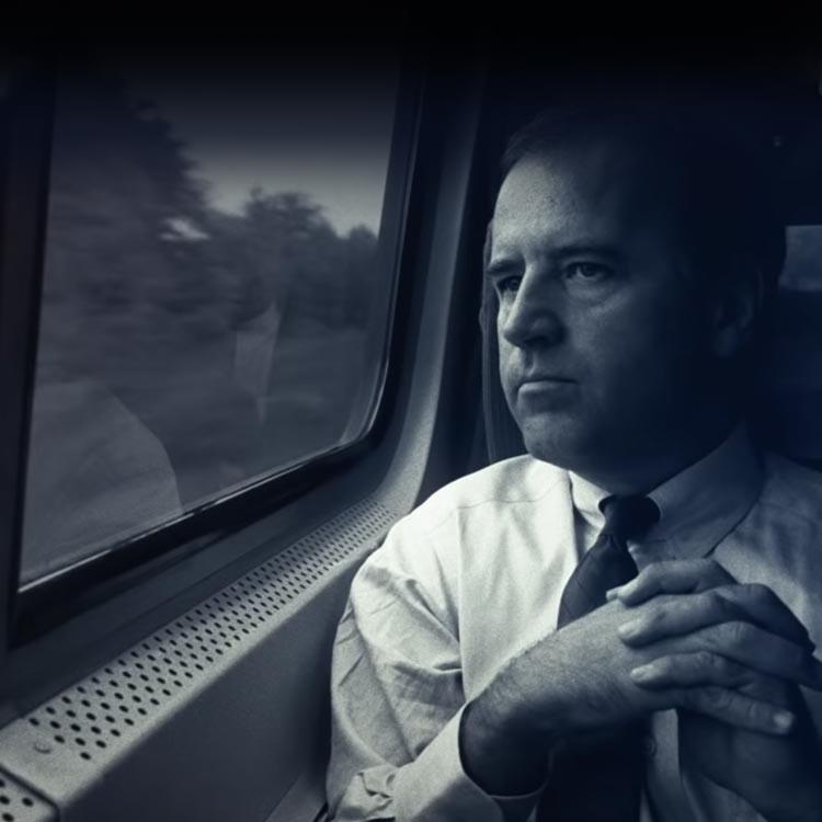 Joe Biden looks out train window