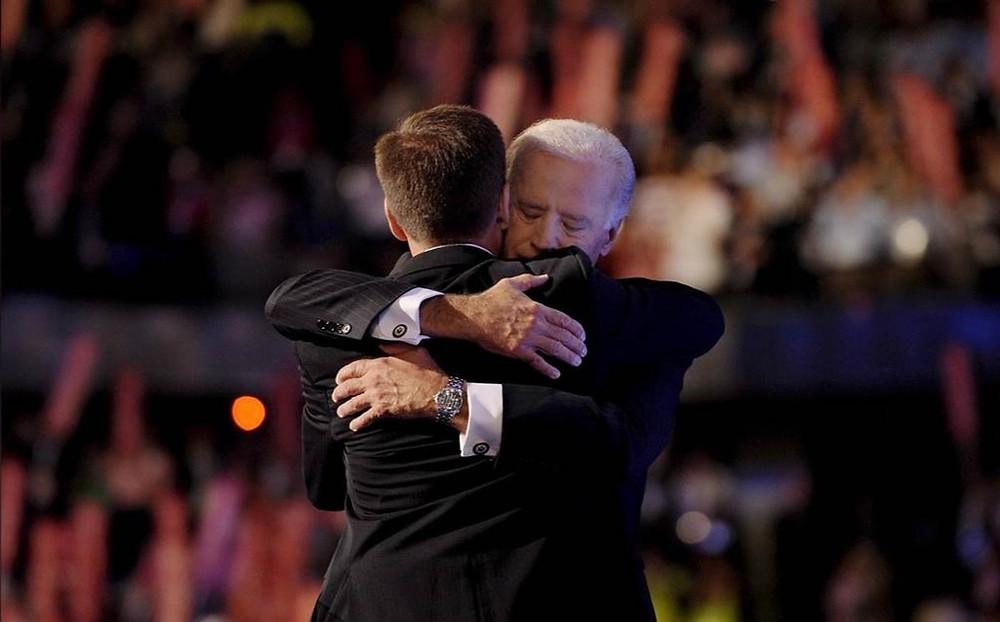 Joe Biden hugs son Beau at Democratic National Convention