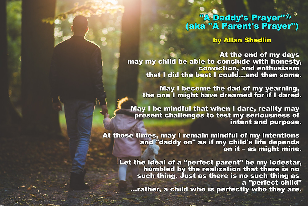 "Father walking with young daughter with poem ""A Daddy's Prayer"" superimposed"