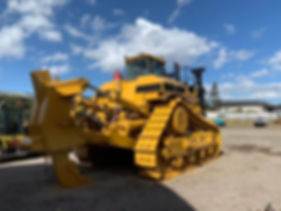 Industrial, Construction excavator after being abrasive blasted and painted