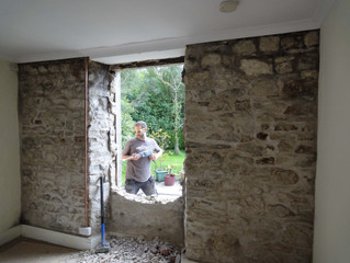 September 2013: More house renovations, render removal, new door and insulated utility room floor.