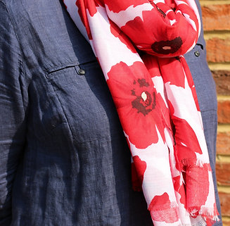 Remembrance Day Scarf - White with Red Poppies