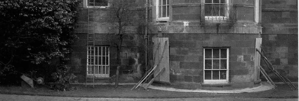Broken windows at Eydon Hall c. 1943
