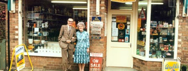 Fred & Joan Phipps outside their Shop, 1980s
