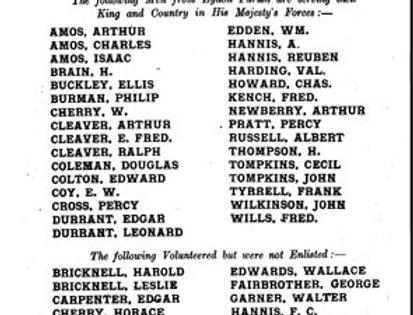 Eydon Roll of Honour, Sept 1915