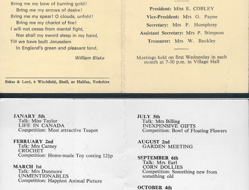 WI Programme of meetings from 1972