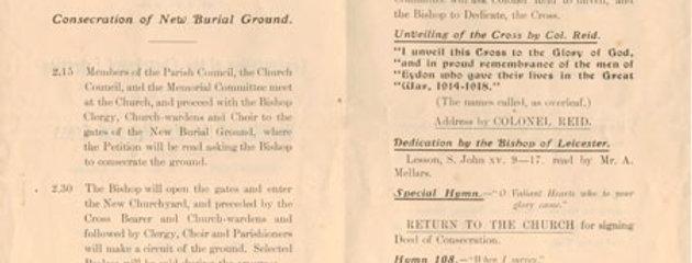 War Memorial Order of Service, 1921, inside pages