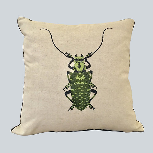 Embroidered Beetle Cushion Cover - Green  Supplied as cover only.