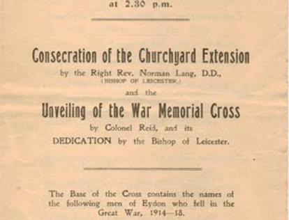 War Memorial Order of Service, 1921, front page
