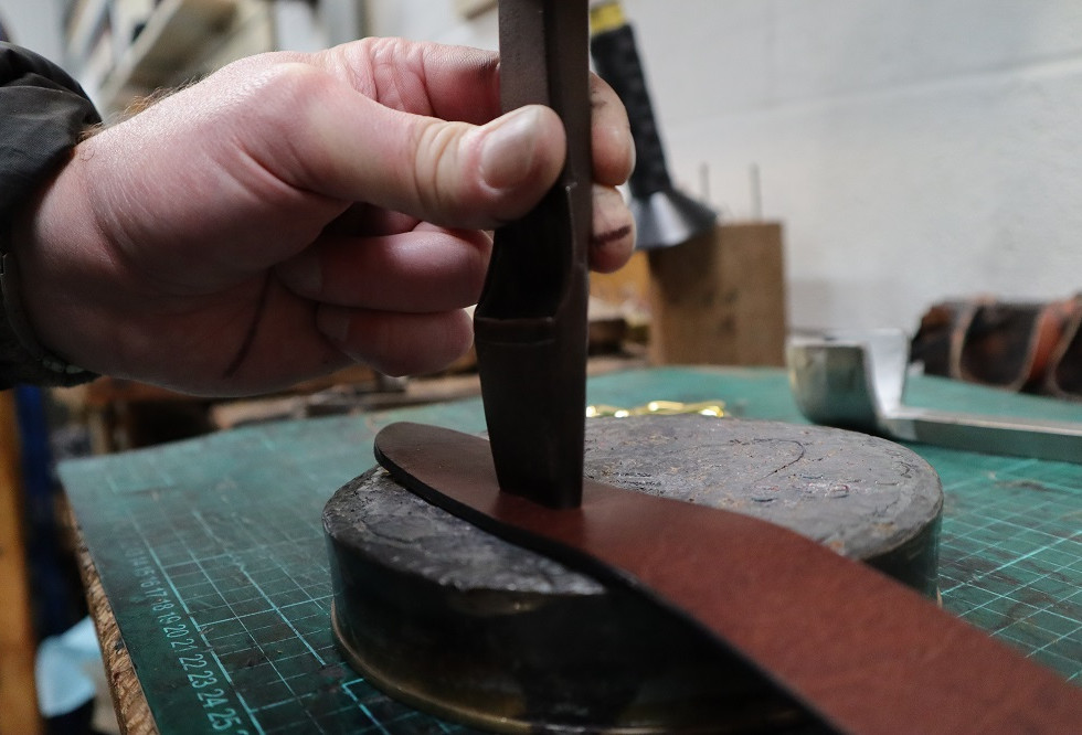 Making crew hole for the buckle.