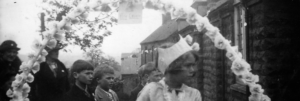 Rose Queen Kath Edwards at the Village Hall, 1937