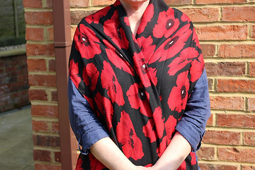 Remembrance Day Scarf - Black with Red Poppies