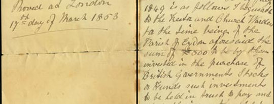 Extract of will of Rev F. C. Clarke, Front & Back Page