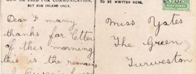 Reverse of Great Fire of Eydon Postcard, 1905