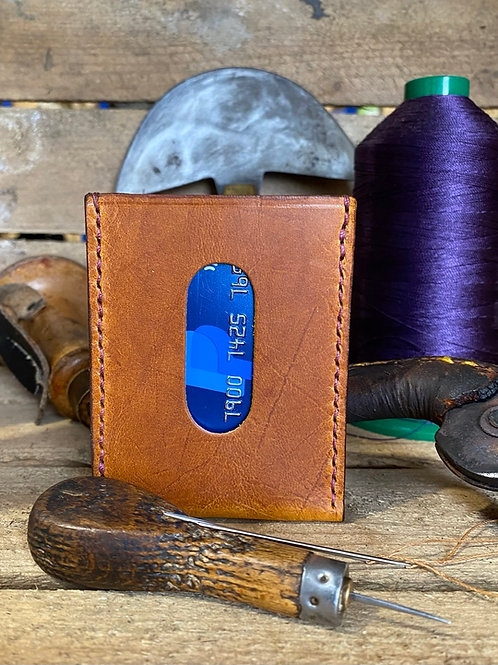 Handmade English Leather Thumb Card Wallet