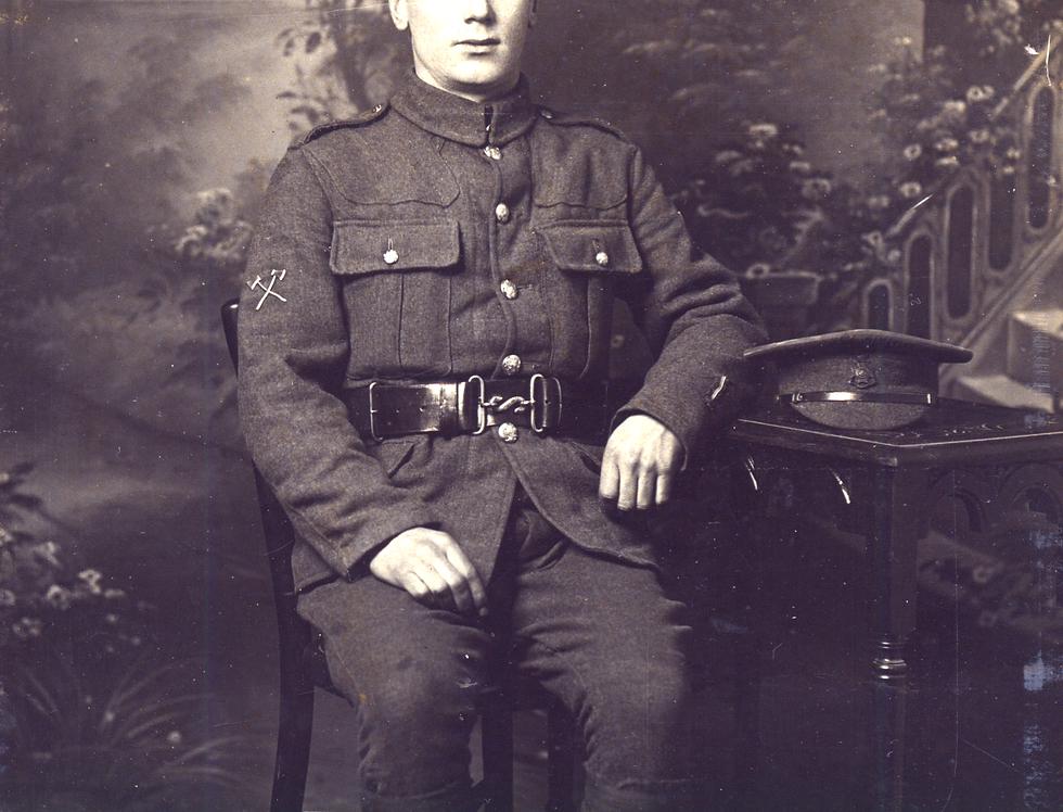 Sid Edwards in military uniform, WW1