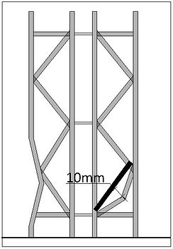 10 mm is the max allowable bend for a frame brace. Beyond this replacement is required.