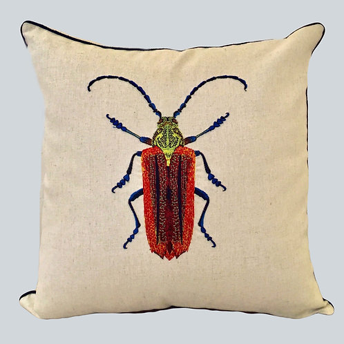 Embroidered Beetle Cushion Cover - Red  Supplied as cover only