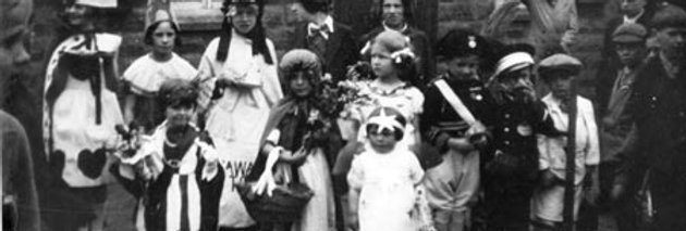 Children's Fancy Dress outside Village Hall, 1937